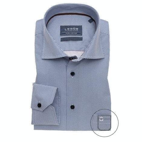 Blue print modern fit shirt with extra long sleeves 0139133-170-650-000
