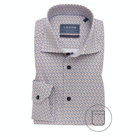 Blue/beige print modern fit shirt with extra long sleeves 0139165-650-171-000
