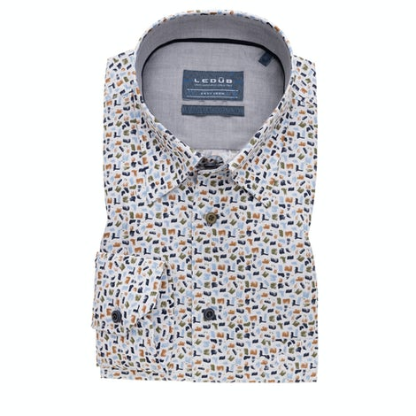Multicolor print modern fit shirt with extra long sleeves 0139317-550-240-550