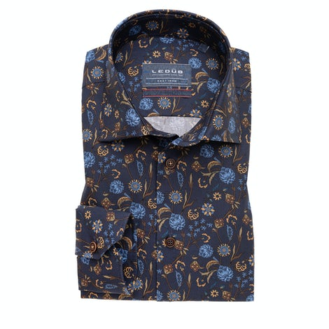Dark blue print modern fit shirt with extra long sleeves 0139325-180-000-000