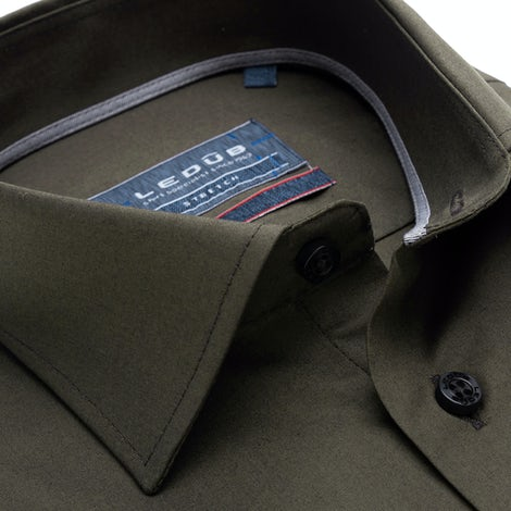 Dark green modern fit stretch shirt with extra long sleeves 0139361-550-240-000