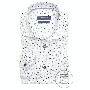 Blue/beige print modern fit shirt 0139829-911-171-000