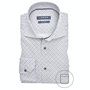Blue/beige print modern fit shirt 0139909-136-285-000