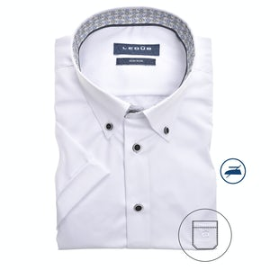 White non-iron modern fit shirt with short sleeves 0139922-910-165-285
