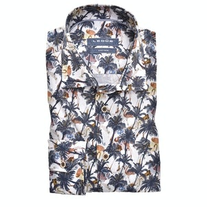 Dark blue print modern fit shirt 0139927-170-171-000