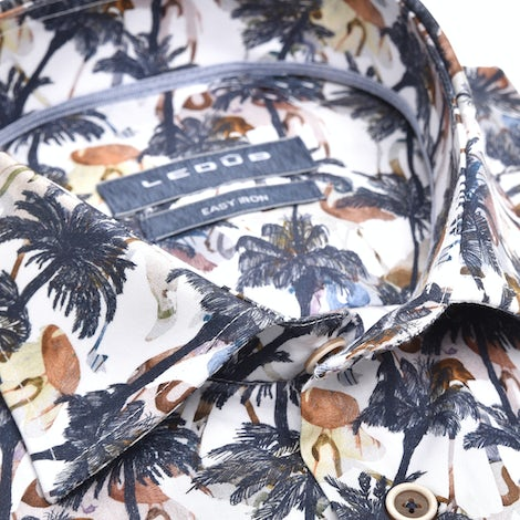 Dark blue print modern fit shirt with extra long sleeves 0139929-170-171-000