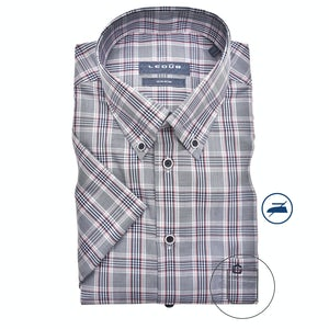 Dark blue checkered modern fit overhemd with short sleeves 0139962-174-000-000