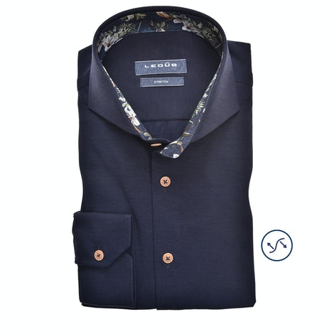Dark blue tricot slim fit shirt 0139986-190-170-000