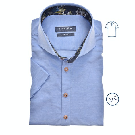 Light blue tricot slim fit polo shirt with short sleeves 0139990-140-170-000