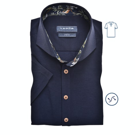 Dark blue tricot slim fit polo shirt with short sleeves 0139990-190-170-000