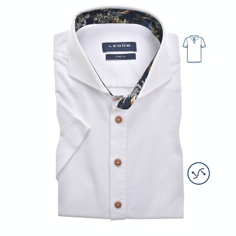 White tricot slim fit polo shirt with short sleeves 0139990-910-170-000
