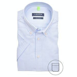 Ligt blue/white stripe modern fit shirt with short sleeves 0140053-120-540-000