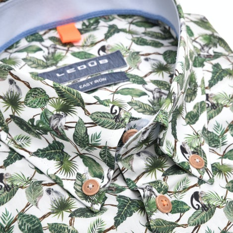 Green print modern fit shirt with short sleeves 0140081-540-120-160