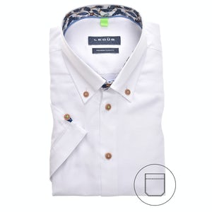 White modern fit shirt with short sleeves 0140089-910-170-160