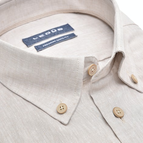 Beige modern fit shirt with short sleeves 0140117-610-620-000