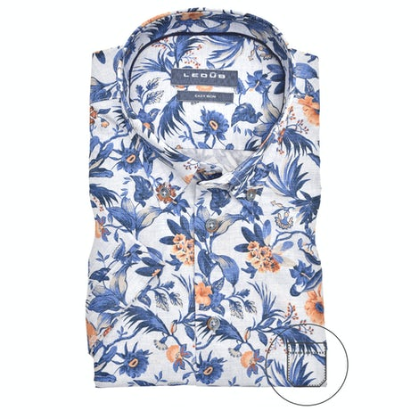 Blue print modern fit shirt with short sleeves 0140220-158-119-000