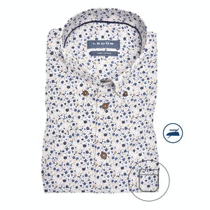 Blue/beige print, short sleeved modern fit shirt 0140371-631-190-000