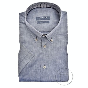 Denim blue linen blend, short sleeved modern fit shirt 0140387-180-661-190