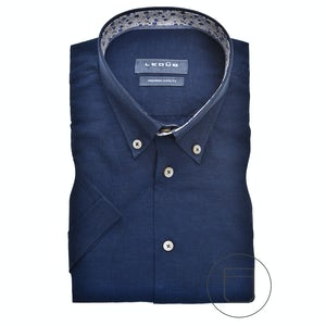 Dark blue linen blend, short sleeved modern fit shirt 0140387-190-631-180