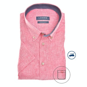 Red blue linen blend, short sleeved modern fit shirt 0140387-450-180-180