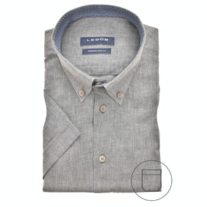 Green linen blend, short sleeved modern fit shirt 0140387-530-165-180