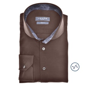 Donkerbruin tricot slim fit overhemd 0140483-690-180-000