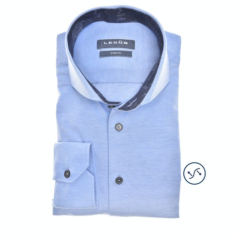 Lichtblauw tricot slim fit overhemd in extra lange mouw 0140486-140-180-000