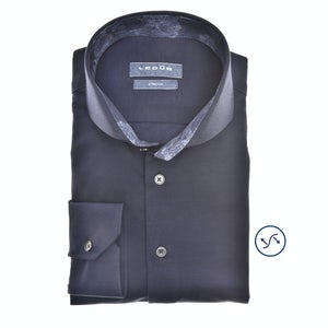 Donkerblauw tricot slim fit overhemd in extra lange mouw 0140486-190-180-000