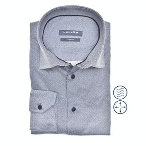 Donkerblauw stretch modern fit overhemd in extra lange mouw 0140545-180-190-000