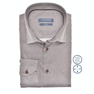 Donkerbruin stretch modern fit overhemd in extra lange mouw 0140545-690-190-000