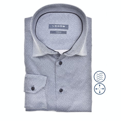 Donkerblauw stretch slim fit overhemd in extra lange mouw 0140546-180-190-000