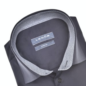 Donkerblauw modern fit stretch overhemd in extra lange mouw 0140551-190-180-000
