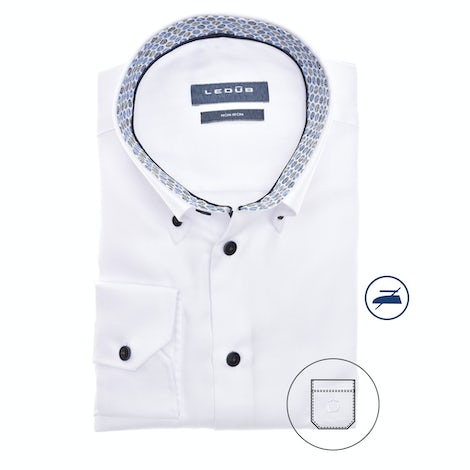 White non-iron modern fit shirt in extra long sleeve 0140563-910-176-190