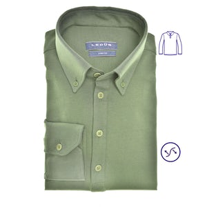 Donkergroen tricot slim fit polo shirt 0140585-550-000-000
