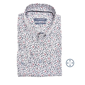 Donkerblauw/rood print Modern Fit stretch overhemd 0140785-174-190-000