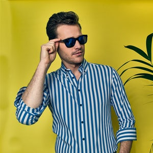 Blue/white stripe modern fit shirt 0140021-160-000-000
